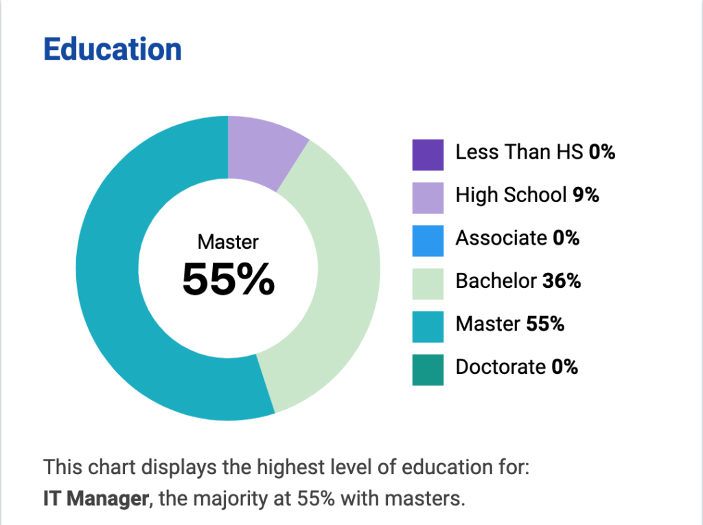 education levels of information technology managers