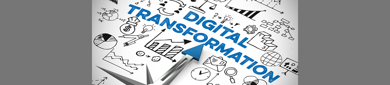 Illustrated graphic that spells out digital transformation